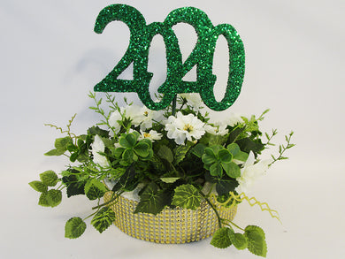 2020 kelly green graduation centerpiece - Designs by Ginny