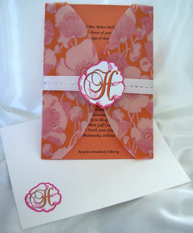Large Floral Print Wedding Invite