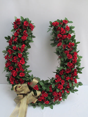 Large Horse shoe wreath with red roses - Designs by Ginny