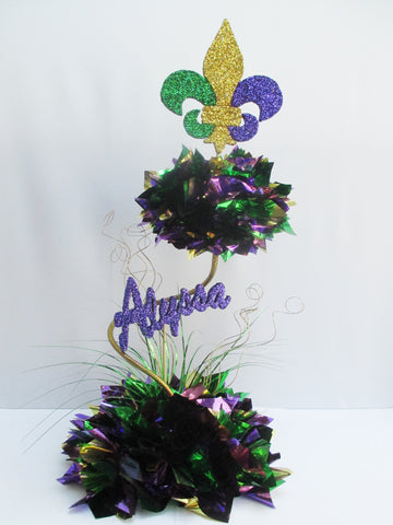Mardi Gras 2 Tier with Fleur-des-Lis Centerpiece