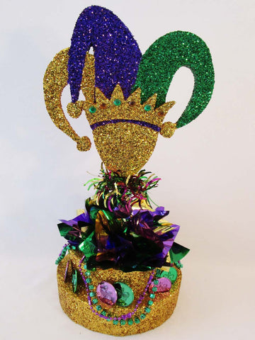Mardi Gras Jester Head Centerpiece - Designs by Ginny
