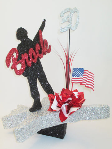 Military soldier on jet plane centerpiece - Designs by Ginny