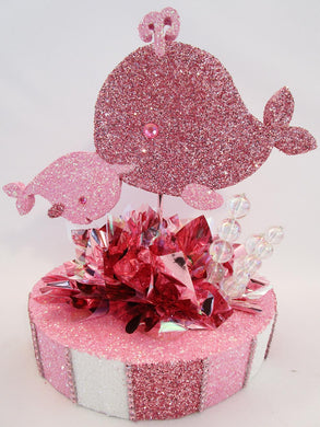 Pink momma and baby whale centerpiece - Designs by Ginny