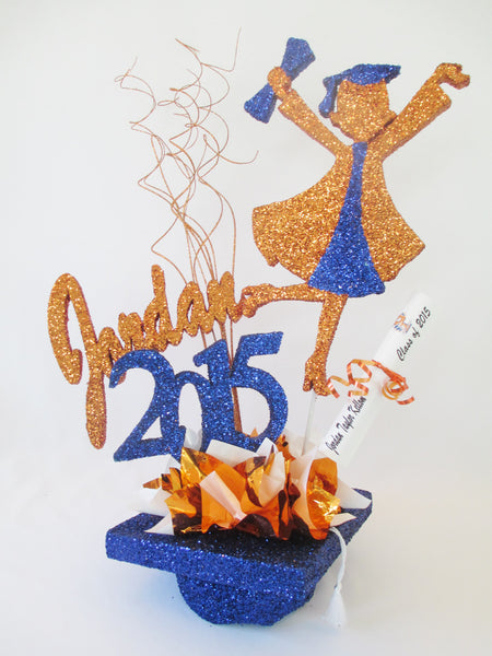 Grad girl, year, name on mortar board hat centerpiece - Designs by Ginny