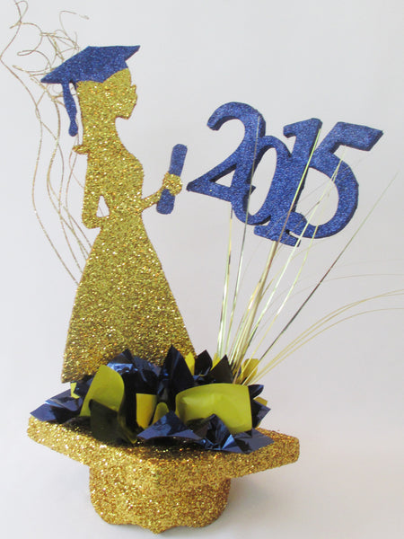 grad silhouette on mortar board hat with year centerpiece - Designs by Ginny