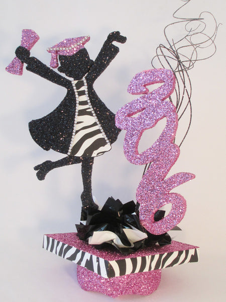 grad girl with zebra accents on mortar board hat centerpiece - Designs by Ginny