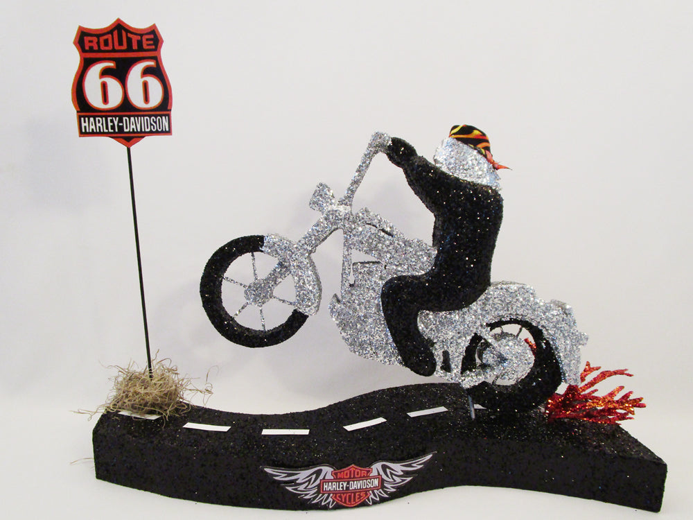 Harley motorcycle rider centerpiece - Designs by Ginny