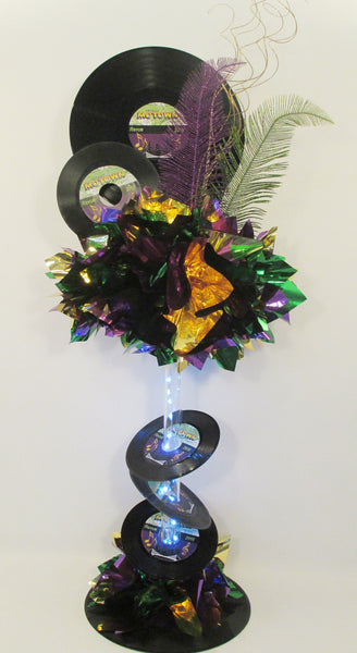 Mardi Gras themed record centerpiece - Designs by Ginny