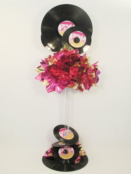 Motown themed real records centerpiece - Designs by Ginny