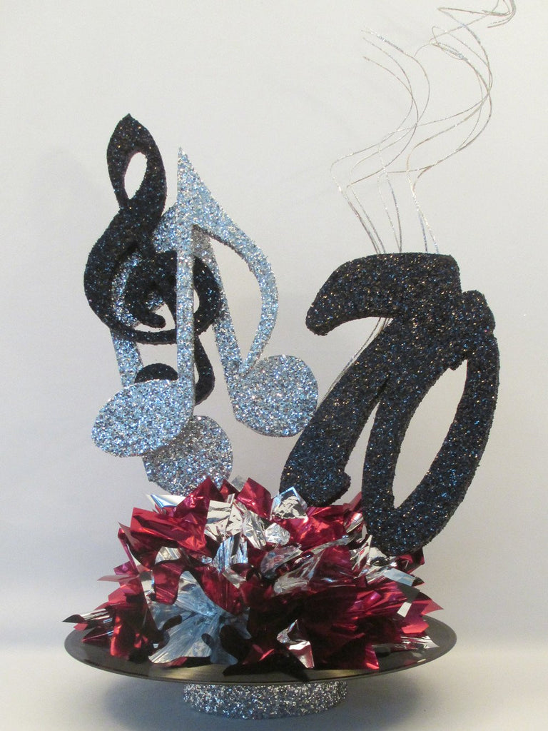 Musical Notes on Record Centerpiece – Designs by Ginny