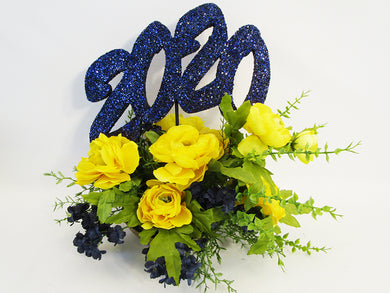 Navy & yellow graduation centerpiece - Designs by Ginny