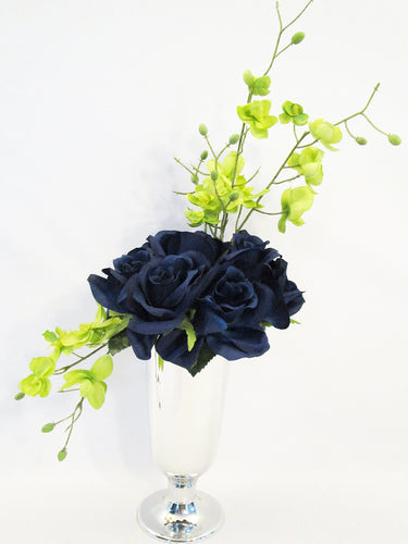Navy Roses Silk Floral Centerpiece Designs by Ginny