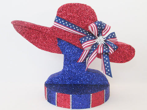 Patriotic styrofoam hat centerpiece - Designs by Ginny