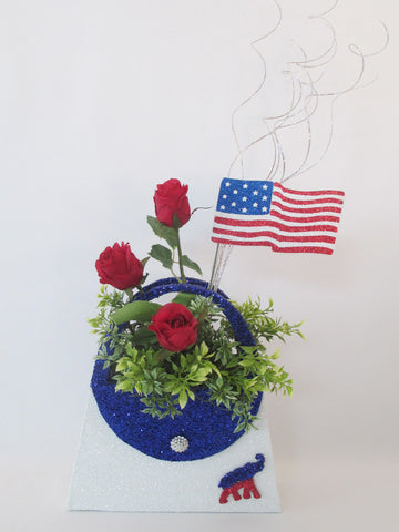 Patriotic styrofoam purse centerpiece - Designs by Ginny