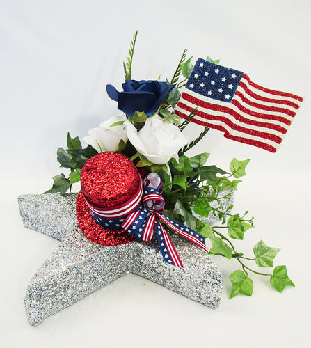 Patriotic centerpiece on star base - Designs by Ginny