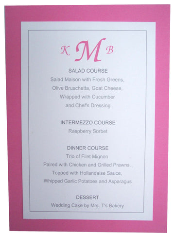 Double Layered Menu Card