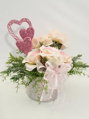 Pink roses & hearts Valentine centerpiece - Designs by Ginny