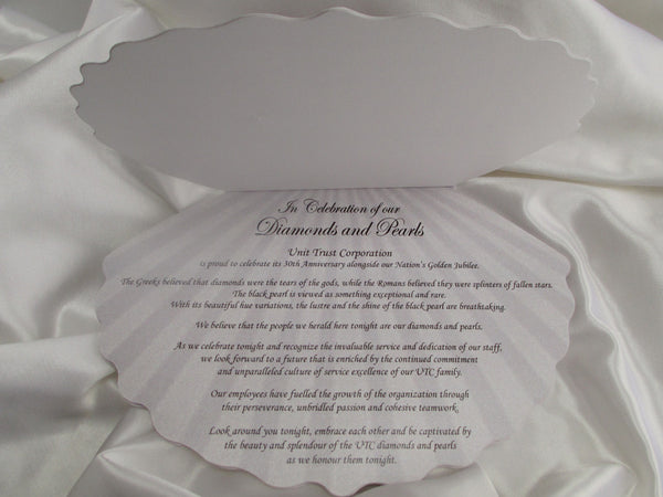 Shell shaped Anniversary Program - Designs by Ginny