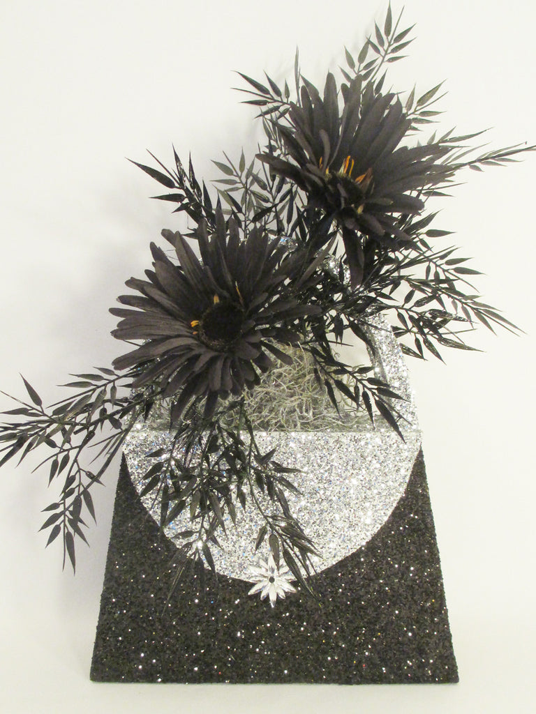 Black & silver styrofoam purse with silks centerpiece - Designs by Ginny