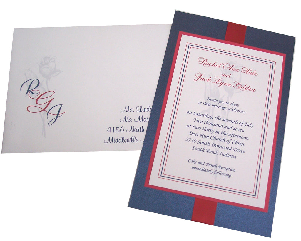 Red, White & Blue Wedding Invite – Designs by Ginny