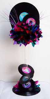 Real records rock n roll centerpiece - Designs by Ginny