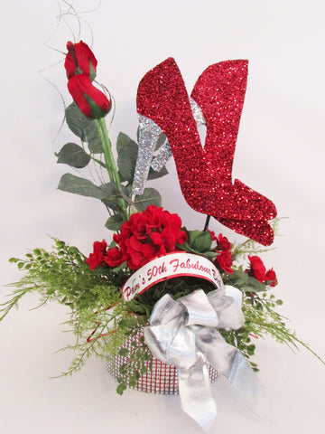 red roses high heel shoe centerpiece - Designs by Ginny