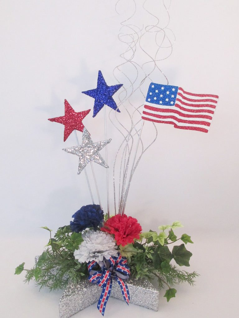 Patriotic Stars Flowers Greenery Table Centerpiece Designs By Ginny