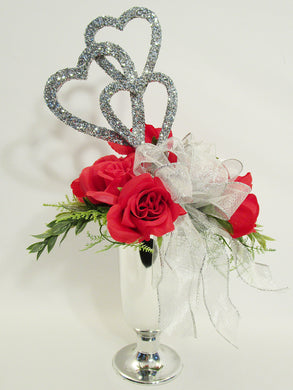 Red Roses Valentine Centerpiece - Designs by Ginny