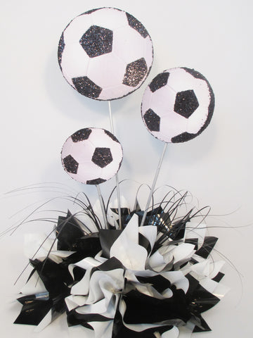 Soccer balls centerpiece - Designs by Ginny