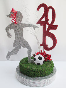 Female soccer player centerpiece - Designs by Ginny
