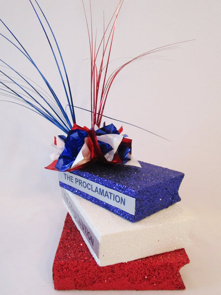 Red,white and blue stack of books - Designs by Ginny