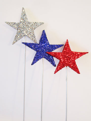 Red, Silver & Blue Stars