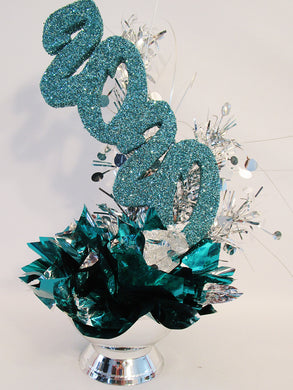 Teal & silver graduation centerpiece - Designs by Ginny