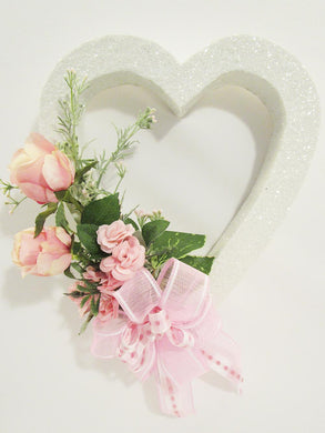 White heart with pink roses - Designs by Ginny