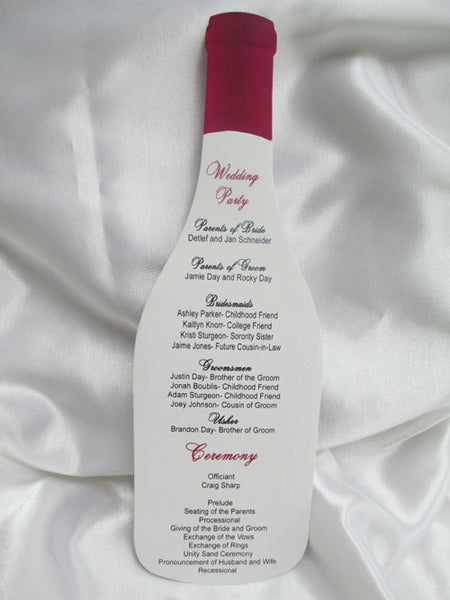 Wine Bottle Cutout Wedding Program