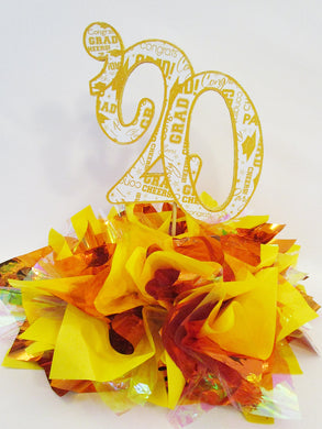 Orange, Yellow & Iridescent  graduation centerpiece - Designs by Ginny