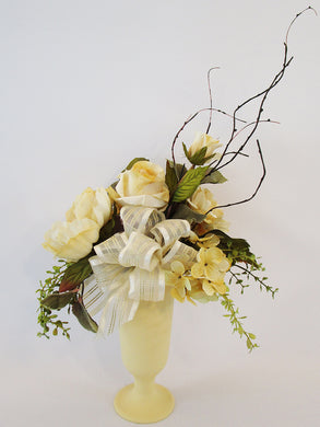 Silk yellow flowers centerpiece - Designs by Ginny