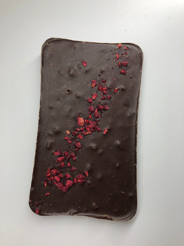 ARTISAN: Slab of 65% Dark Chocolate with Toffee Crunch & Dried Raspberries