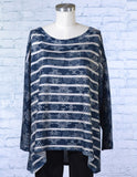 Long Sleeve Medallion Striped Top