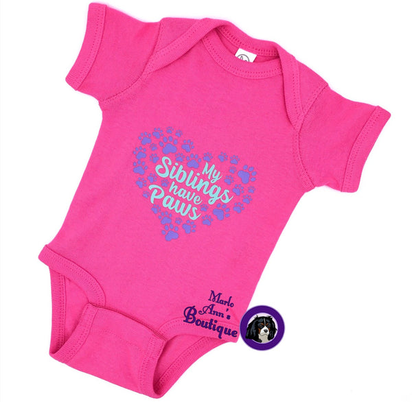 My Siblings Have Paws Pink Baby Bodysuit