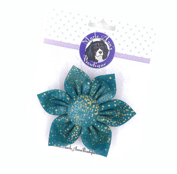 Teal & Gold Fall Flower