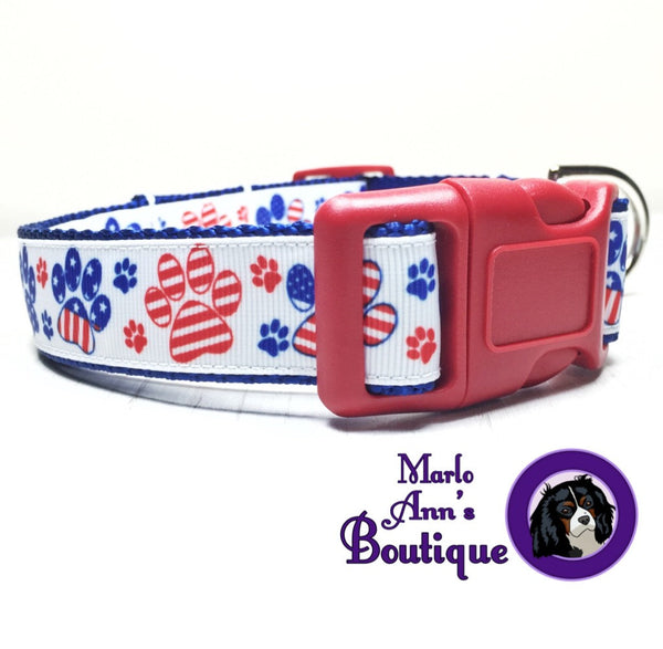 Patriotic Paw Prints Dog Collar