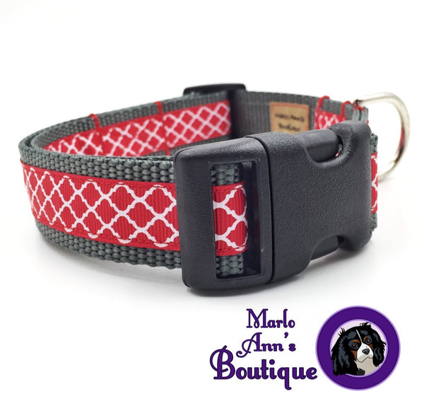 Scarlet, Gray, & White Quatrefoil Dog Collar
