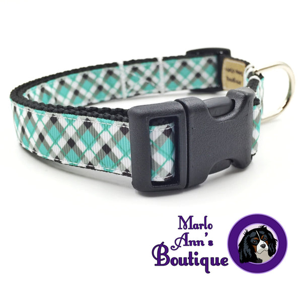 Aqua & Black Plaid Dog Collar