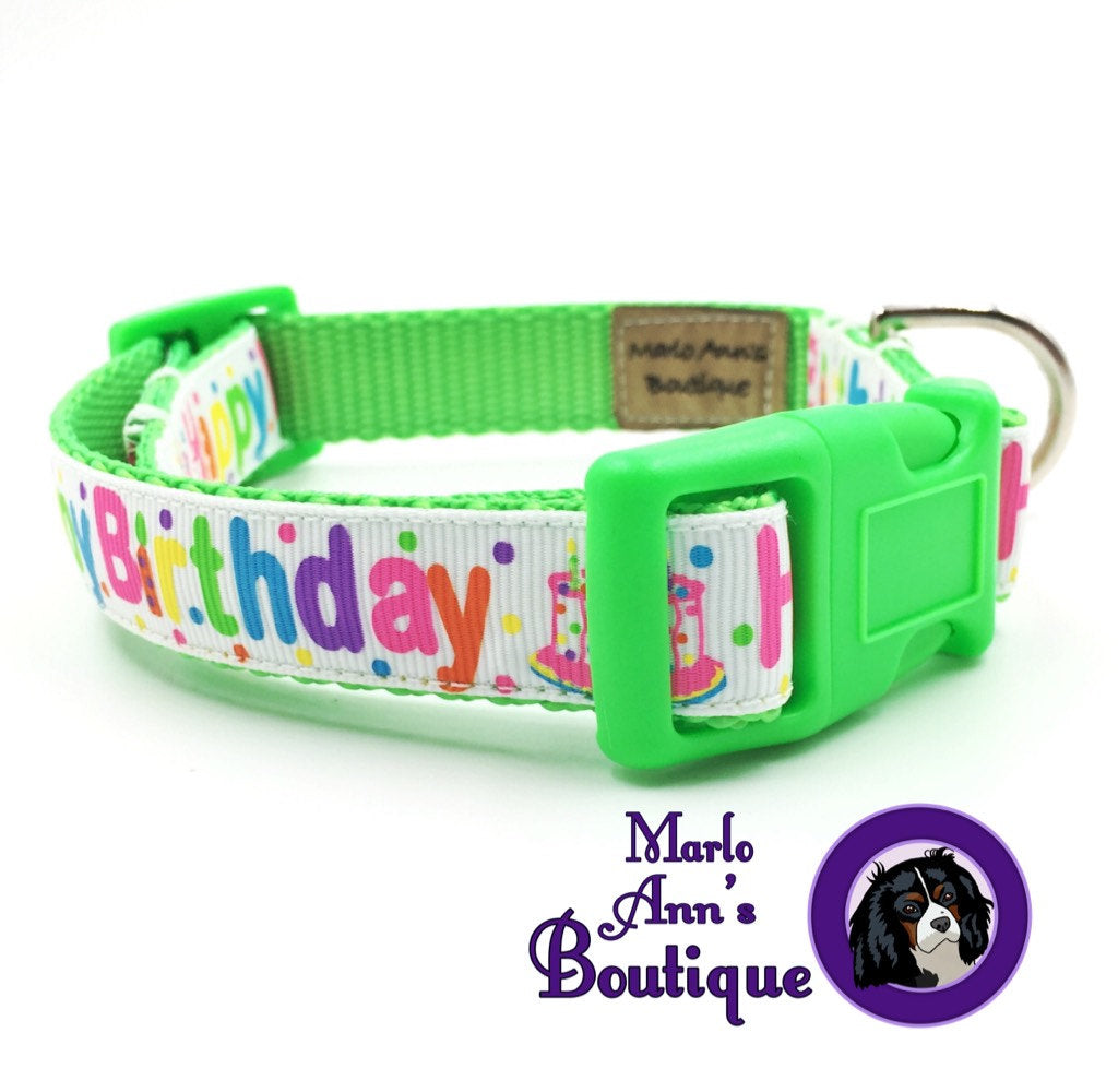 Green Happy Birthday Dog Collar