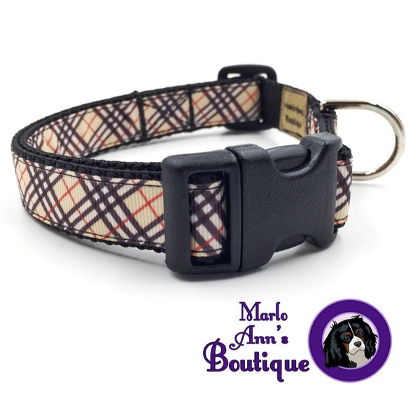 Preppy Autumn Plaid Dog Collar