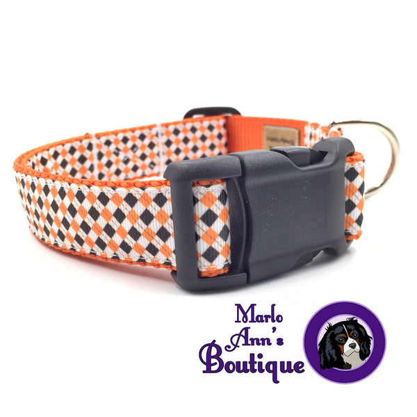 Halloween Argyle Dog Collar