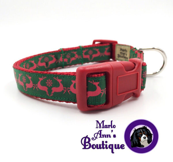 Green & Red Reindeer Dog Collar