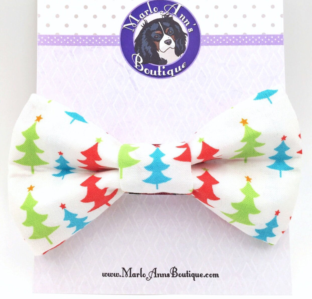 Pastel Christmas Tree Bow Tie