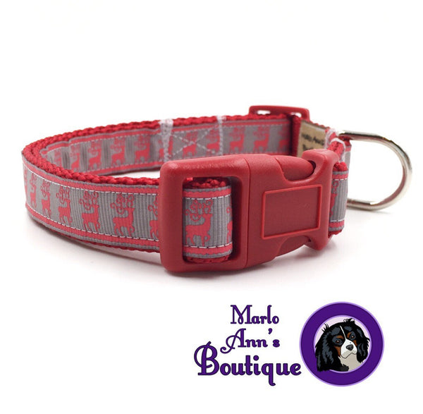 Gray & Red Reindeer Dog Collar